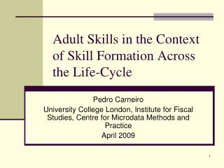 Adult Skills in the Context of Skill Formation Across the Life-Cycle