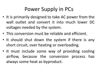 Power Supply in PCs
