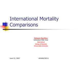 International Mortality Comparisons