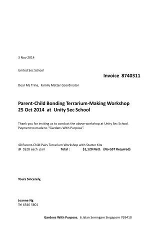 3 Nov 2014 United Sec School Invoice   8740311 Dear Ms  Trina,  Family Matter Coordinator
