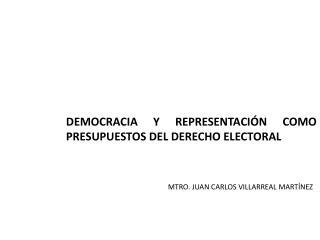 DEMOCRACIA Y REPRESENTACIÓN COMO PRESUPUESTOS DEL DERECHO ELECTORAL
