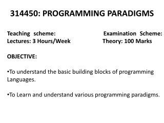 314450: PROGRAMMING PARADIGMS