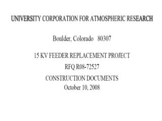 University Corporation for Atmospheric Research Construction ...
