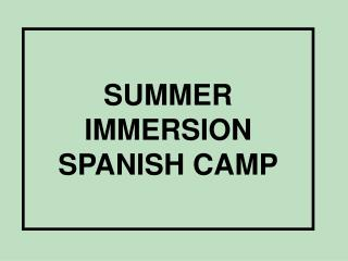 SUMMER IMMERSION SPANISH CAMP