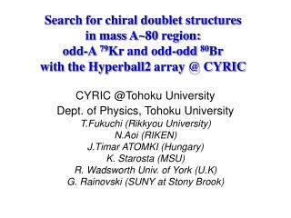 CYRIC @Tohoku University Dept. of Physics, Tohoku University T.Fukuchi (Rikkyou University)
