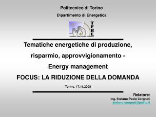 Relatore:  ing. Stefano Paolo Corgnati stefano.corgnati@polito.it