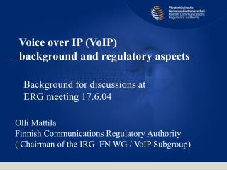 Voice over IP discussion note