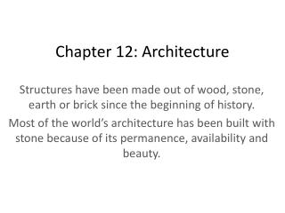 Chapter 12: Architecture