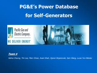 PGE s Power Database  for Self-Generators