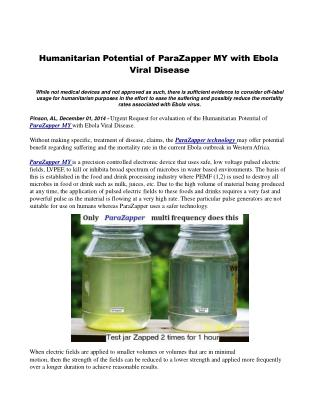 Humanitarian Potential of ParaZapper MY with Ebola Viral Dis