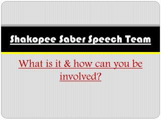 Shakopee Saber Speech Team