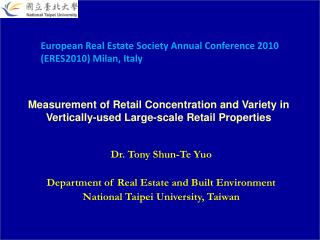 Measurement of Retail Concentration and Variety in Vertically-used Large-scale Retail Properties