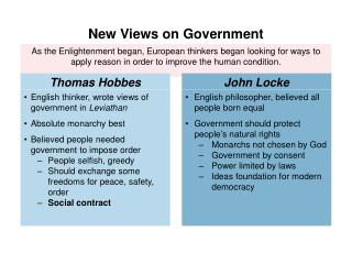 English thinker, wrote views of government in  Leviathan Absolute monarchy best