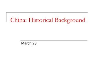 China: Historical Background