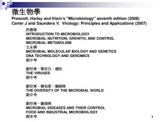 許勝傑 INTRODUCTION TO MICROBIOLOGY MICROBIAL NUTRITION, GROWTH, AND CONTROL MICROBIAL METABOLISM 王永樑