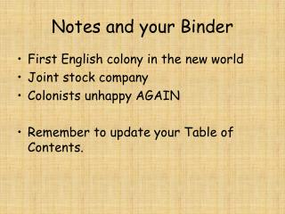Notes and your Binder
