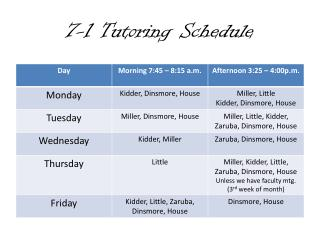 7-1 Tutoring Schedule