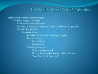 The English Establish 13 Colonies