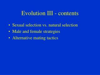 Evolution III - contents