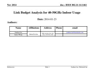 Link Budget Analysis for 40-50GHz Indoor Usage