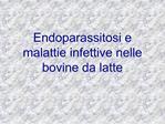 Endoparassitosi e malattie infettive nelle bovine da latte