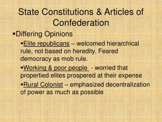 State Constitutions & Articles of Confederation