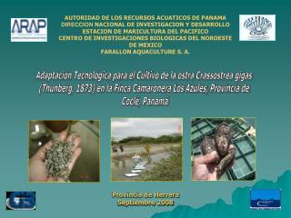 AUTORIDAD DE LOS RECURSOS ACUATICOS DE PANAMA DIRECCION  NACIONAL DE INVESTIGACION Y DESARROLLO