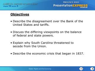 Describe the disagreement over the Bank of the United States and tariffs.