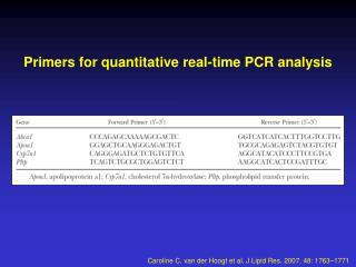 Primers for quantitative real-time PCR analysis