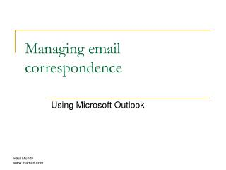 Managing email correspondence