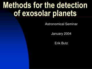 Methods for the detection of exosolar planets