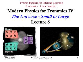 Modern Physics for Frommies IV The Universe - Small to Large Lecture 8