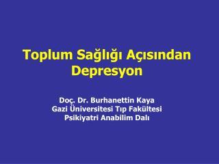 Depresyonun epidemiyolojisi