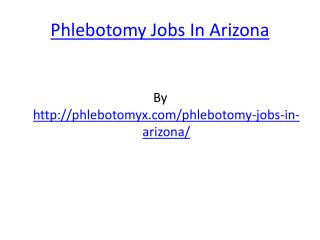 Phlebotomy Jobs In Arizona