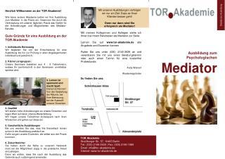 Ausbildung zum Psychologischen  Mediator