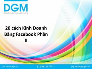 20 cách kinh doanh bằng facebook phần 2