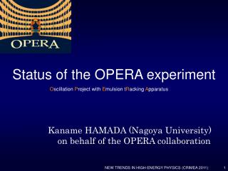 Kaname HAMADA (Nagoya University)     on behalf of the OPERA collaboration