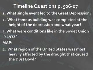 Timeline Questions p. 506-07
