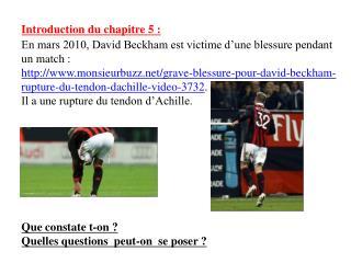 Introduction du chapitre 5 : En mars 2010, David Beckham est victime d une blessure pendant un match : monsieurbuzz