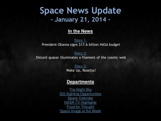 Space News Update - January 21, 2014 -