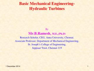 Basic Mechanical Engineering-Hydraulic Turbines