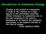 Introduction to Community Ecology