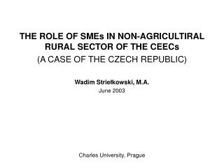 THE ROLE OF SMEs IN NON-AGRICULTIRAL RURAL SECTOR OF THE CEECs (A CASE OF THE CZECH REPUBLIC)
