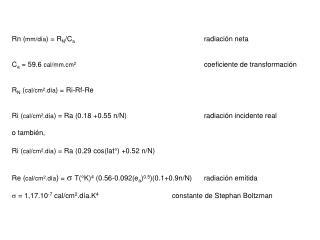 Rn ( mm/d�a ) = R N /C a radiaci�n neta