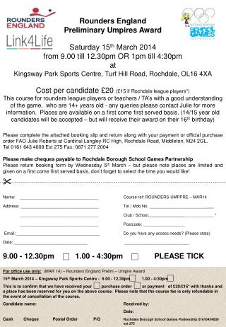 Rounders England Preliminary Umpires Award Saturday 15 th  March 2014
