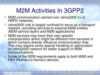M2M Activities In 3GPP2