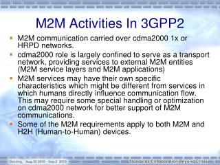 M2M Activities In 3GPP2