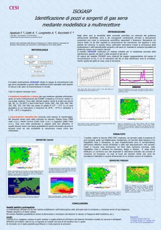 ISOGASP  Identificazione di pozzi e sorgenti di gas serra  mediante modellistica a multirecettore