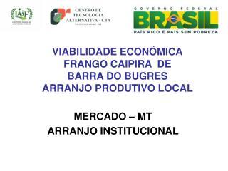 VIABILIDADE ECONÔMICA FRANGO CAIPIRA  DE BARRA DO BUGRES ARRANJO PRODUTIVO LOCAL
