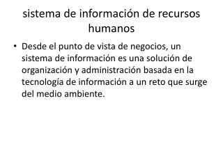 sistema de información de recursos humanos